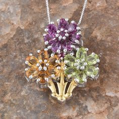 Rainbow Gems Multi Gemstone 14K YG and Platinum Plated Sterling Silver Pendant With Chain (20 in) TGW 3.64 Cts.
