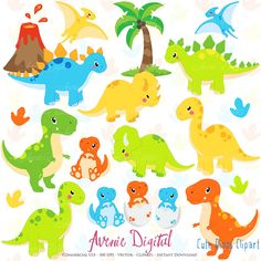 Cute Dinos Clipart. Scrapbook printable dinosaur by AvenieDigital