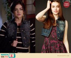 Aria's striped sweater and studded denim vest on Pretty Little Liars.  Outfit Details: http://wornontv.net/33657/ #PLL
