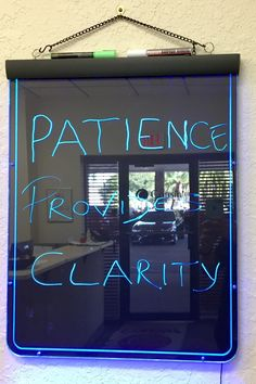 """""""Patience Provides Clarity"""". When you enter the office of Cousin Corporation, our motivational sign is sure to catch your eyes. Stay tuned daily, as we share our motivational messages with you.  #dailymotivation #motivationalmonday #cousincorp #cousindiy #laurajanelle #primabead"""