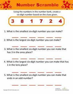 Worksheets: Number Challenge