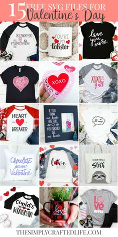 Create the cutest Valentine shirts with these 15 FREE SVG files. Perfect to use with your Cricut or Silhouette. Find out how easy it is to make your own custom t-shirt by using these SVG files. My Funny Valentine, Valentine Cupid, Valentines Day Shirts, Valentine Day Crafts, Walmart Valentines, Valentine Ideas, Valentine Decorations, Holiday Crafts, Cricut Ideas