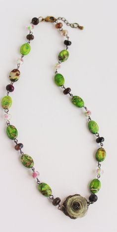 Beaded Necklace. Beadwork Necklace. Green by JennyMoralesJewelry