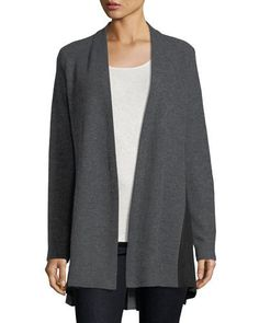 Godet-Pleat Open-Front Wool Cardigan