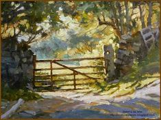 Oil Demonstration of The Gate / Beck Hole Watercolor Art, Gate, Images, Scenery, Arts And Crafts, Landscape, Inspiration, Oil, Paintings