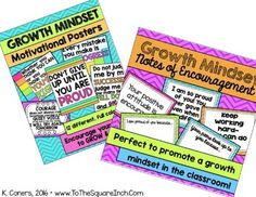 Growth Mindset Bundle by To the Square Inch- Kate Bing Coners   Teachers Pay Teachers