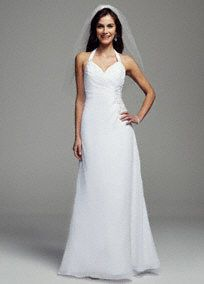 Elegant, stylish and chic, you will look alluring on your special day in this gorgeous sheath gown!  Sheathgeorgettegownwith ultra-feminine halter v-neckline.  Features side ruched waistwith dazzling beading detail.  Available in White.  Fully lined. Back zip. Imported polyester. Dry clean only. To preserve your wedding dreams, try our Wedding Gown Preservation Kit.