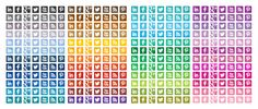 Free Square Social Media Icons in 48 Different Colors