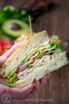 """This Chicken Bacon Avocado Sandwich with """"secret sauce"""" is a Kneaders Copycat Recipe. We subbed turkey for rotisserie chicken. So easy and so good!"""