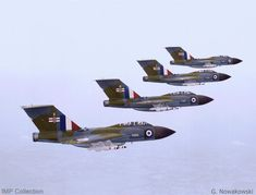 Gloster Javelin fighters of 41 Squadron, based at RAF Wattisham, Suffolk, in flight on 22 October Air Force Aircraft, Fighter Aircraft, Fighter Jets, Military Jets, Military Aircraft, Uk Arms, War Jet, Post War Era, Aircraft Photos