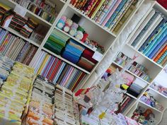How to organise fabrics & trimmings.   My Craft Shop  by giantbutton, via Flickr