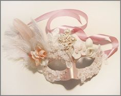 "Beautiful Masquerade Lace Mask : ""Retro Pink""- with Semiprecious Stones mask diy Mascarade Mask, Masquerade Ball, Masquerade Theme, Venetian Carnival Masks, Lace Mask, Accesorios Casual, Pink Quartz, Diy Mask, Mardi Gras"