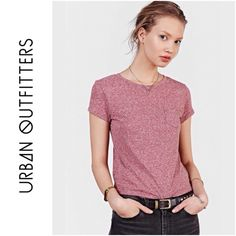 BDG Red Cropped Shrunken Pocket Tee Shirt Brand: BDG Size: Large Color: Red  This top is brand new with tags. It is short sleeve and features small slits on the side. It is slightly cropped.   No trades. Please refrain from asking. Urban Outfitters Tops Tees - Short Sleeve