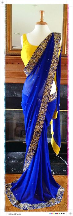 Ooo love this color combo! Blue and yellow sari Indian Attire, Indian Wear, India Fashion, Asian Fashion, Indian Dresses, Indian Outfits, Collection Eid, Royal Blue Saree, Desi Clothes