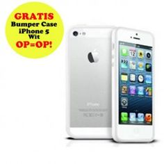 GRATIS iPhone 5 Bumper Case - Wit (t.w.v. €12,95) - Hoesjes - iPhone 5 - Telefoon Accessoires