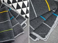 crochet blanket for boy | easy and simple. this connects to a site in Spanish, but the pattern would be easy to do: mostly double crochet in dark gray with occasional single-crochet stripes of color.