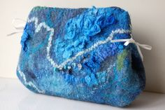 "Felted cosmetic bag ""Blue sea "" picture no. 2"