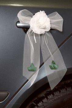 noeud voiture mariage rose blanche noeud voiture mariage rose blanche accessoires pour russir - Noeud Pour Voiture Mariage Tulle