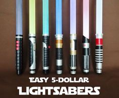 Make some awesome Lightsabers for about $5 each!I recently made a bunch of homemade Lightsabers for my kids and me to play with and use for Halloween costumes. As I was figuring out how to make these, my goal was to come up with a method that balanced maximum coolness with minimum cost and ease of making. I was very happy with the results!Read on to see how I made these, and how you can too. Enjoy!