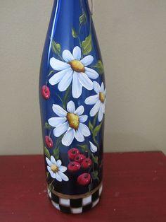 Painted Wine Bottle by JCandmeArt on Etsy Wine Bottle Art, Painted Wine Bottles, Lighted Wine Bottles, Diy Bottle, Painted Wine Glasses, Bottle Lights, Wine Bottle Crafts, Bottles And Jars, Glass Bottles