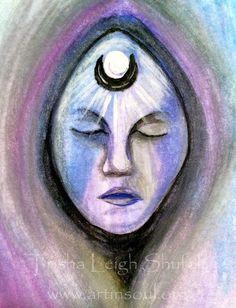 ACEO Original Watercolor Spirit Totem Sage Deva by ArtInSoulorg