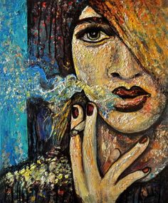 ARTFINDER: Woman Smoking by Alex Solodov - Acrylic painting, smoking woman model portrait inspired by vintage films and fashion. In expressionistic pop art style.  Materials: Sennelier acrylic paint...