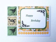 Birthday Card, Happy Birthday Card, Birds and Flowers, Personalization Available, by WideSkyPapercrafts, £3.50