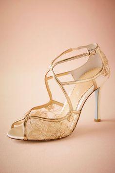 Gilt Lace Bridal Heels