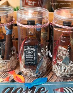 A fishing party favor idea that's ready for any fishing emergency, complete with adult beverage and Havana Honeys cigars!