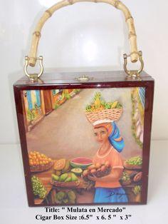 """Cigar Box Purse w/ Original Oil Painting """"Mulata en el Mercado""""  . The Best Art"""