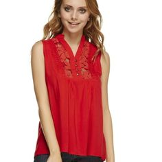 Red lightweight with cut outs top. 2x HP!  Perfect summer/fall top to go out or put a jacket over at work. It looks like  a button down top. The 4 silver ones open and close . Cut out Lacy area at top. Oversized! Go down a size. Poly 80%, cotton 20%. Lays nicely. Beautiful true red. Sm/med/large. Do Not Buy This Listing Please. Specify size, I will make a listing with a $10 . Get one now! girly girly HP! 10/24 HP from Ann. private brand Tops