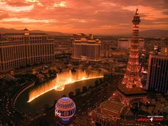 The Bellagio fountains and Paris half-scale Eiffel Tower, Las Vegas, Nevada, U.S.A.
