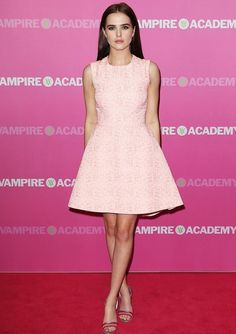 Zoey Deutch at the Australian Premiere of Vampire Academy Zoey attended her film's Sydney showing outfitted in a colorful Christian Dior jacquard dress featuring a flared skirt. She rounded out the look with two-tone sandals.