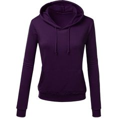 Womens Slim Plain Long Sleeve Active Drawstring Pullover Hoodie Purple ($13) ❤ liked on Polyvore featuring activewear, activewear tops, purple, sweater pullover, purple pullover and long sleeve pullover