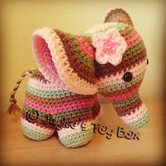 Peanut the elephant, crochet cutie