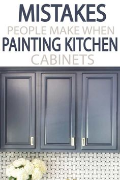 Painting your kitchen cabinets? Learn from other what to do, and what NOT to do! A few minutes reading will give you a better finished project! kitchen 5 Mistakes People Make When Painting Kitchen Cabinets - Painted Furniture Ideas Diy Kitchen Cabinets, Kitchen Redo, Kitchen Furniture, New Kitchen, Kitchen Dining, Furniture Ideas, Best Paint For Cabinets, How To Paint Kitchen Cabinets White, Diy Painting Kitchen Cabinets