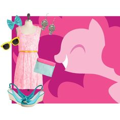 """Pinkie Pie Dress and Accessories"" by strawberryaqua on Polyvore"