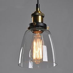 Transparent Glass Shade Ceiling Chandelier Fitting Vintage Retro Pendant Lamp Shade(E27 Screw lamp base, JUST Lamp Shade, excluding Light Bulb)