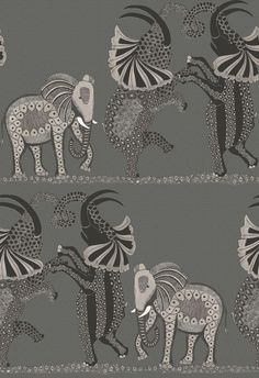 Our magnificent Safari Dance Wallpaper by Cole & Son forms part of the new Ardmore Collection. This beautifully patterned wallpaper features a trio of hand-drawn elephants dancing horizontally across the African Plains. Dance Wallpaper, Painting Wallpaper, Adhesive Wallpaper, White Wallpaper, Wallpaper Roll, Paper Wallpaper, Bedroom Wallpaper, Beautiful Wallpaper, Wallpaper Ideas