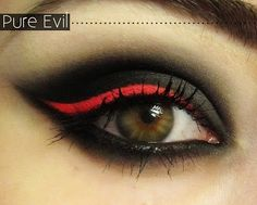 red eyeshadow that would look great with a vampire costume for halloween!Gorgeous red eyeshadow that would look great with a vampire costume for halloween! Goth Makeup, Hair Makeup, Devil Makeup, Red Makeup, Skull Makeup, Halloween Make Up, Halloween Face Makeup, Halloween Eyeshadow, Halloween Vampire