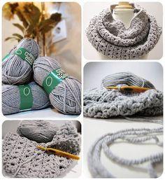 Cuello de lana gris cochet