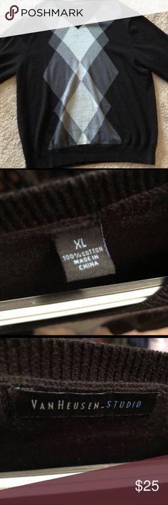 Van Heusen V Neck Argyle Sweater V Neck sweater, black with argyle design.  SMOKE FREE HOME Van Heusen Sweaters V-Neck
