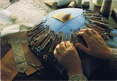 Helen's Hands ~ Making Bobbin lace  Postcard showing the East Midlands style of traditional lacemaking.