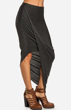 @: side view of Twisted High Low Skirt
