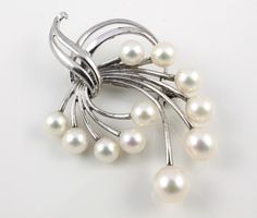 Vintage Mikimoto Pearl Brooch Sterling silver wedding by RMSjewels