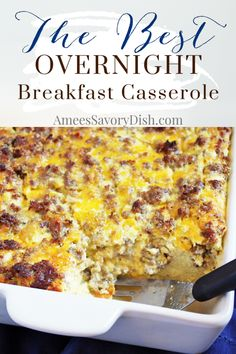 Sausage and egg breakfast casserole is a baked strata with pork sausage, onions, cheddar cheese and spices, baked together with cubes of whole grain bread. Egg And Cheese Casserole, Egg Bake Casserole, Breakfast Casserole With Bread, Overnight Breakfast Casserole, Breakfast Dishes, Casserole Recipes, Breakfast Recipes, Breakfast Strata, Breakfast Ideas