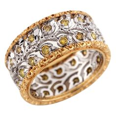 Buccellati Yellow and White Gold and Yellow Diamond Ring | From a unique collection of vintage band rings at http://www.1stdibs.com/jewelry/rings/band-rings/