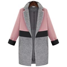 SheIn(sheinside) Pink Grey Lapel Pockets Woolen Coat (€52) ❤ liked on Polyvore featuring outerwear, coats, jackets, coats & jackets, casacos, multi, long woolen coats, wool coat, long coat and grey wool coat