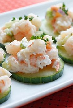 Shrimp Salad on Cucumber Slices from Skinnytaste! This is perfect for an appetizer, or even lunch!