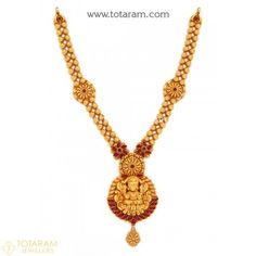 22K Gold 'Lakshmi' Necklace (Temple Jewellery) - 235-GN2055 - Buy this Latest Indian Gold Jewelry Design in 34.700 Grams for a low price of  $1,878.99